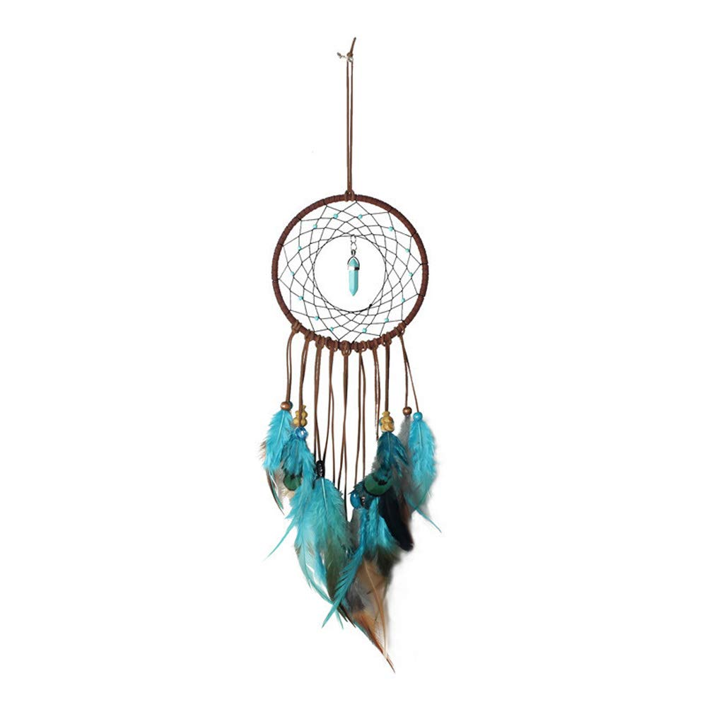 DDSS Home Decoration Blue Dream Catcher Love Pendant Home Ornaments Wind Chimes Dreamcatcher Natural Feathers Wall Hangings /-/ by DDSS Wall decoration