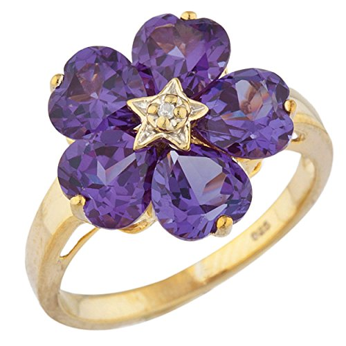 5 Hearts Created Alexandrite & Diamond Heart Ring 14Kt Yellow Gold Plated Over .925 Sterling Silver (14kt Ring Alexandrite)