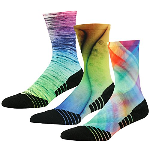 Running Dress Socks, HUSO Men Women Performance Lightweight Dry Fit Hiking Socks,Thin Cushion Tennis Crew Socks,Antimicrobial Outdoor Sports Socks 3 Pack