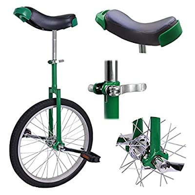 """20"""" Inches Wheel Skid Proof Tread Pattern Unicycle W/ Stand Uni-Cycle Bike Cycling GREEN"""