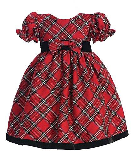 Taffeta Christmas Holiday Dress (iGirlDress Little Girls Red Black Velvet Plaid Holiday Fall Christmas Girls Dress 814 Size 3T)