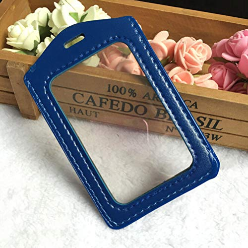 Pu Leather ID Badge Case Clear with Color Border Lanyard Holes Cardholder HOT! (Colour - Blue)