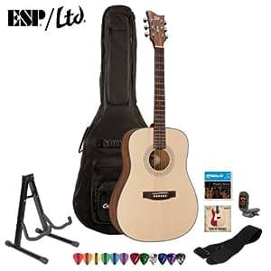 ESP LTD XTONE D-6 Natural Satin Acoustic Guitar Kit - Strap, Stand, ChromaCast Pick Sampler, DVD, Strings, Tuner and Gig Bag