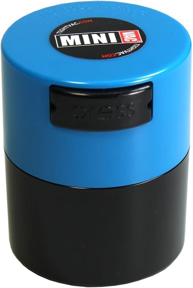 Tightpac America, Inc. Contenedor de Almacenamiento, de Minivac, Sello hermético de vacío, para Alimentos y Hierbas, Multiusos, plástico, Light Blue Cap Black Body.12-Liter/4-Fluid Ounce