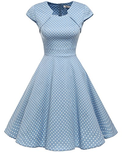 Homrain Women's 1950s Retro Vintage A-Line Cap Sleeve Cocktail Swing Party Dress Blue Small White Dot L