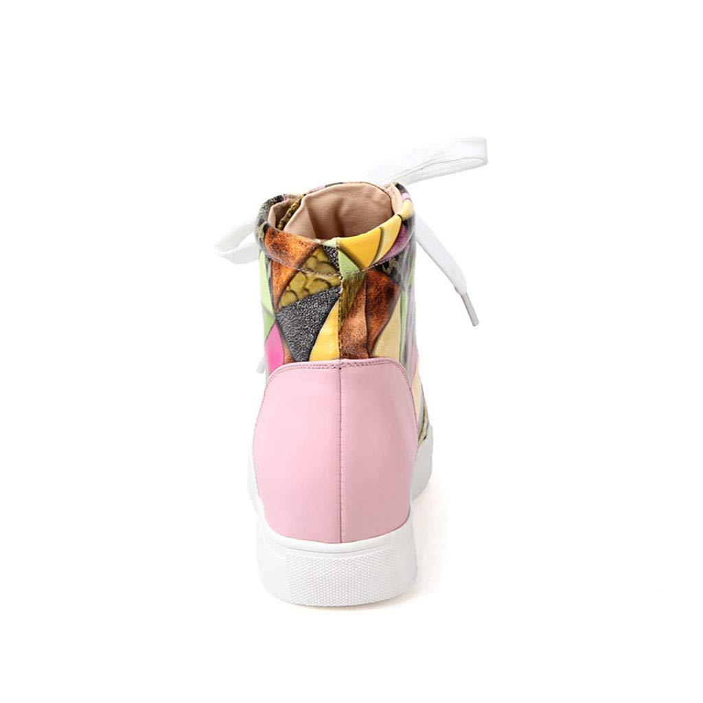 Damenschuhe Leder High-Top-Sportschuhe mit flachem flachem flachem Boden schnüren Sich vermehrt Freizeitschuhe im Herbst und Winter neu,Rosa,39EU ec4b7b