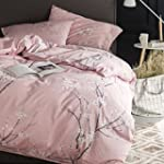 Japanese Oriental Style Cherry Red Blossom Floral branches Print Duvet Quilt Cover 300tc Cotton Bedding 3 piece Set Queen Rose Dust