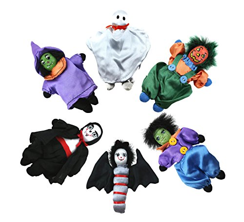 [6 Pack with Pail Best Holiday Monster Mini Toy Dolls in Costumes Indoor Decoration Party Table Decor Witch Clown Ghost Bat Zombie Ceramic Head Figurine Stocking Stuffer Present Idea Kid Child Girl] (Best Nerd Girl Halloween Costume)