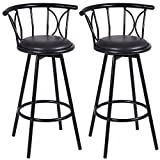 Set of 2 Black Modern Bar stools Pub Seat Swivel Rotatable Chairs Steel Counter Height New #377