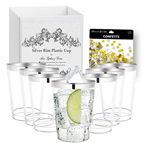 Silver Rim Plastic Cups by Ava Sophia & Grace. 12 oz. [100 Pack]. Elegant Tumblers For Your Wedding, Baby or Bridal Shower, Birthday or any other Special Occasion. Includes Bonus Foil Confetti. ()