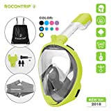 ROCONTRIP Full Face Snorkel Mask, Free Breathing 180° Panoramic View Diving Mask, Anti-Fog Anti-Leak and Adjustable Head Strap...