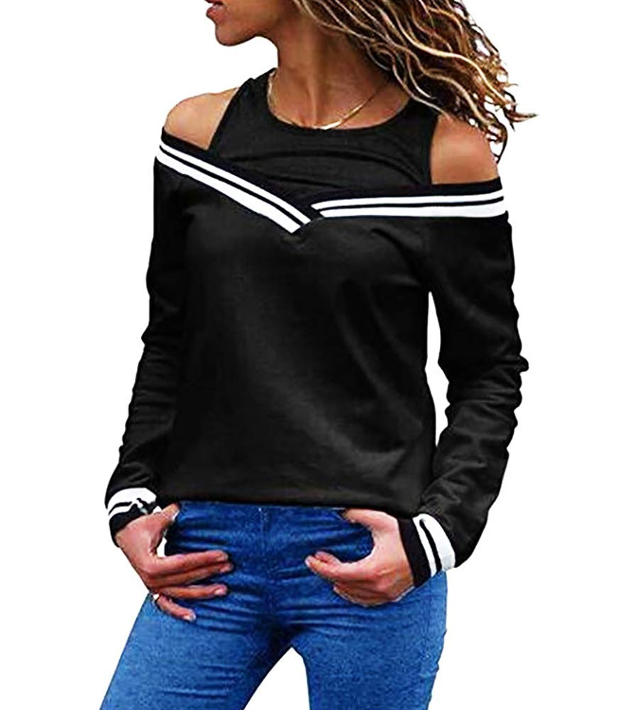 ThusFar Womens Off Shoulder Layered Look Long Sleeve T Shirts Blouses Large Black