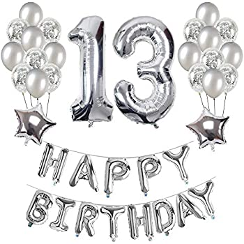 13th Birthday Decorations Puchod Happy Decoration Banner Number 13 Foil Balloon Party Decor Set