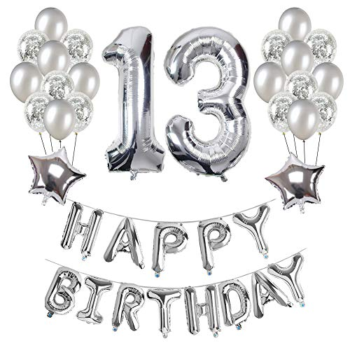 13th Birthday Decorations, Puchod Happy Birthday Decoration Banner Number 13 Foil Balloon Party Decor Set with Confetti Balloons Silver for Boy -
