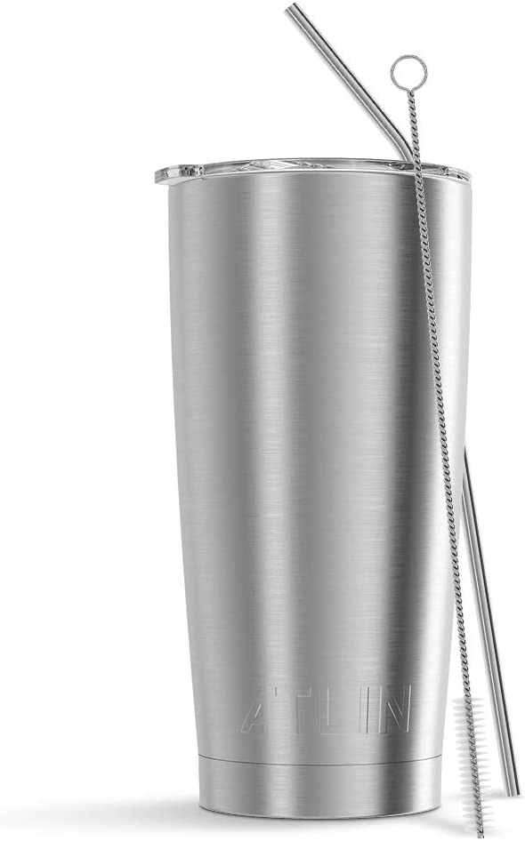 Atlin Tumbler [20 oz. Double Wall Stainless Steel Vacuum Insulation] Travel Mug [Crystal Clear Lid] Water Coffee Cup [Straw Included] (White) For Home,Office,School, Ice Drink, Hot Beverage
