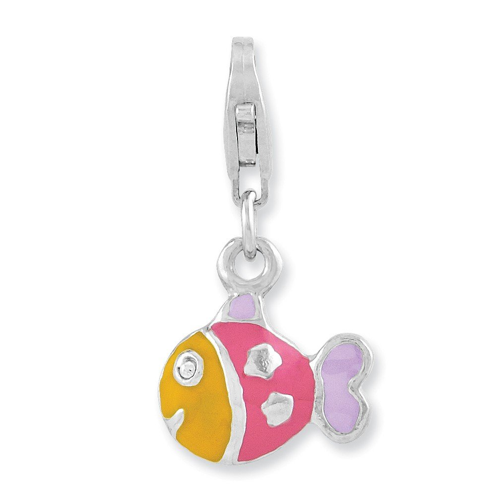 Beautiful Sterling silver 925 sterling Sterling Silver Rhodium-plated 3-D Enameled Fish w//Lobster Clasp Charm