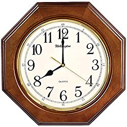 TXL Wooden Wall Clock 14 Silent Clock Solid Octagonal Basswood Case Non Ticking Digital Kitchen Living Room Decorative Vintage Wood Wall Clock, G10126A