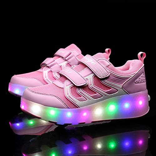 Ufatansy USB Charging Shoes Roller Shoes Girls Roller Skate Shoes pink - 1