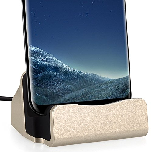 USB C Charger Dock Station, FanTEK Charging Desktop for Microsoft Lumia 950, Huawei P9 Plus, OnePlus 2/3, LG G6, Google Pixel XL, ASUS ZenFone 3 Deluxe, ZTE Grand X Max 2, BLU Energy XL (Gold)