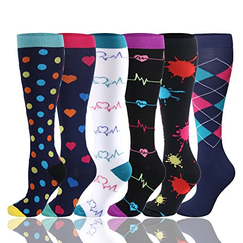 HLTPRO Compression Socks for Women & Men 20-30 mmHg - 1 to 6 Pairs Compression Stockings Best for Running, Crossfit, Travel, Nurse, Maternity Pregnancy (6 Pairs,Heartbeat Graffiti, Small/Medium)