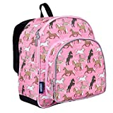 Wildkin 12 Inch Backpack, Includes Insulated, Food-Safe Front Pocket and Side Mesh Water Bottle Pocket, Perfect for Preschool, Daycare, and Day Trips – Horses in Pink