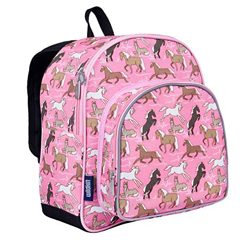 - Wildkin 12 Inch Backpack, Includes Insulated, Food-Safe Front Pocket and Side Mesh Water Bottle Pocket, Perfect for Preschool, Daycare, and Day Trips – Horses in Pink