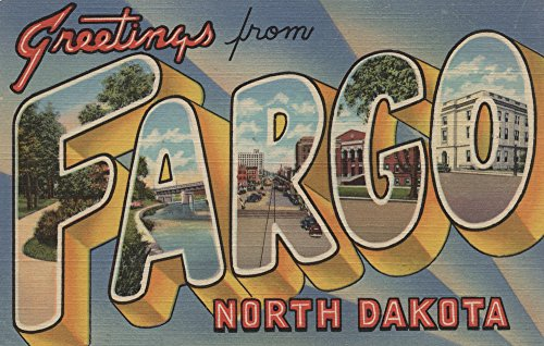 Greetings From Fargo  North Dakota  12X18 Collectible Art Print  Wall Decor Travel Poster