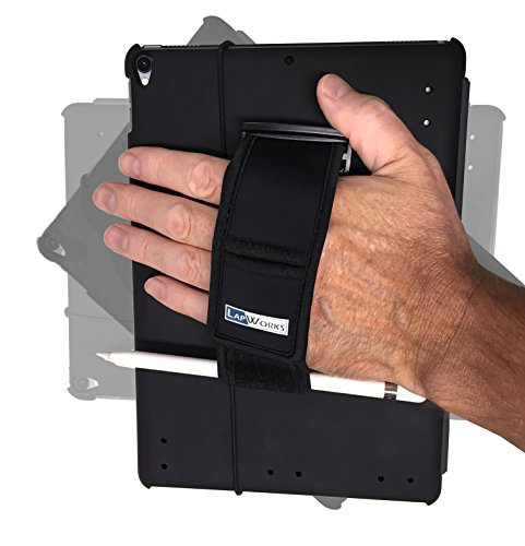 LapWorks 10.5 iPad Pro Soft Grip Handle Stand with Pencil Storage and Travel Band to Hold Keyboard Cover -