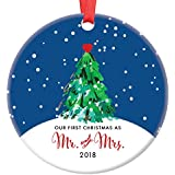 """Our First Christmas as Mr & Mrs Ornament 2018, Wedding Gift Porcelain Ornament, 1st Married Christmas, 3"""" Flat Circle Christmas Ornament w Glossy Glaze, Red Ribbon & Free Gift Box 