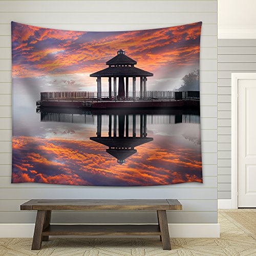 Sunrise of Sun Moon Lake Taiwan Fabric Wall Tapestry