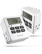 FosPower Timer Outlet [ETL Listed] 125V/15A LCD Digital Indoor Outlet Timer, 7 Day Programmable Timer with 2 AC Plug Capacity for Lights, Lamps, Fans & Electrical Outlets (2 Pack)