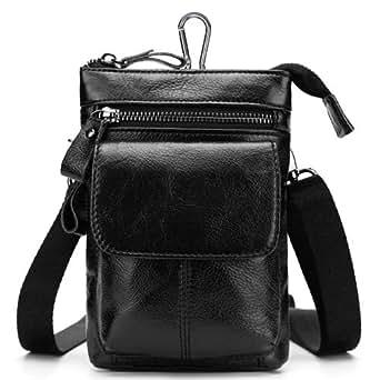 Genuine Leather Cowhide Messenger Shoulder Sling Bag Crossbody Bags Waist Belt Pack Travel Motorcycle Bag (Black)