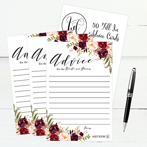 50 4x6 Floral Wedding Advice & Well Wishes For The Bride and Groom Cards, Reception Wishing Guest Book Alternative, Bridal Shower Games Note Card Marriage Advice Bride To Be, Best Wishes For Mr & Mrs Photo #4
