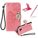 Strap Leather Case for Samsung Galaxy A8 2018,Diamond Pink Wallet Flip Case for Samsung Galaxy A8 2018,Herzzer Stylish 3D Owl Magnetic Closure Cute Owl Printed Stand Shockproof Card Slots Folio PU Leather Back Case with Soft Silicone