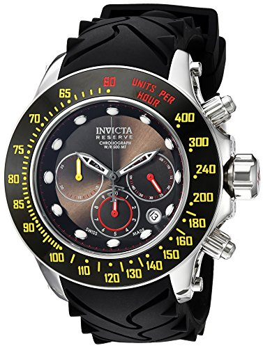 Invicta Men's 'Reserve' Swiss Quartz Stainless Steel and Silicone Casual Watch, Color:Black (Model: 22142) -  05151940018