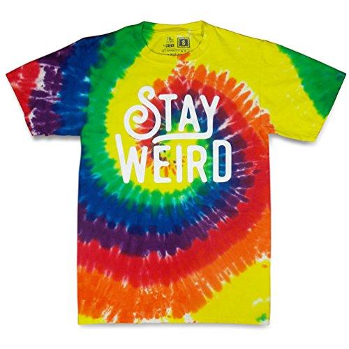 WUE Stay Weird Adult Tie multicolored Tie Dye T-Shirt S - Multi Colored Tie Dye