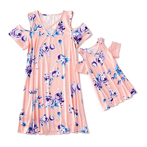 Yaffi Mommy and Me Matching Maxi Dress Short Sleeve Floral Printed Summer Dress for Mother and Daughter Girl: 8-9 Years Pink