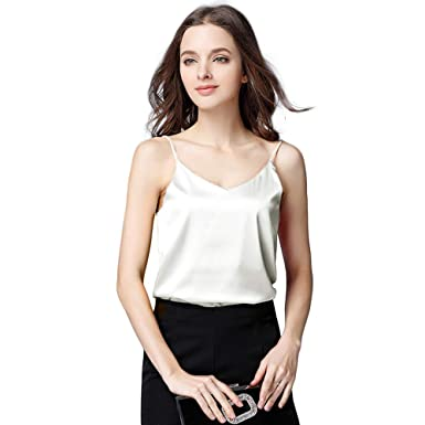0ed67e26dd Basic Women s Silk Tank Top Ladies V-Neck Camisole Silky Loose Sleeveless  Blouse Tank Shirt