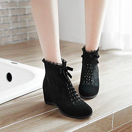YE Damen Keilabsatz Ankle Boots Stiefeletten mit Spitze und Reißverschluss Inner-Erhöhung Schuhe Schwarz