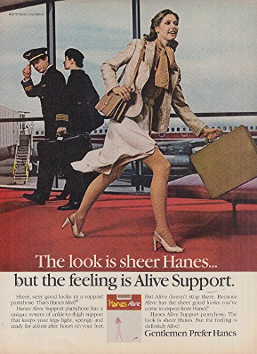 The look is sheer the feeling is Hanes Alive Support Pantyhose ad 1978