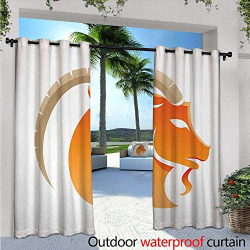 Zodiac Capricorn Indoor/Outdoor Single Panel Print Window Curtain W96 x L84 Silhouette of Goat with Horns Abstract Animal Illustration Silver Grommet Top Drape Orange Beige and ()