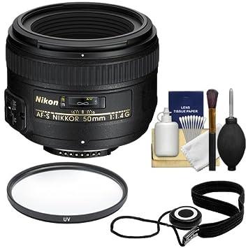 Nikon 50mm F/1 4G AF-S Nikkor Lens + UV Filter + Accessory Kit for D3200,  D3300, D5300, D5500, D7100, D7200, D750, D810 Cameras