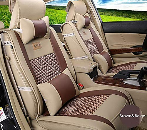 100% Waterproof Luxury Car Seat Cushion for Leather Seats, Luxury PU Leather Auto Bottom Single Front Driver or Passenger Seat Protector Pad,beigebrown: