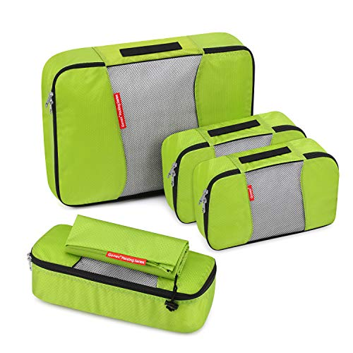 Travel Packing Cubes, Gonex Luggage Organizers L+2S+Slim+Laundry Bag Green