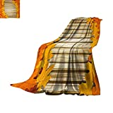 Anhuthree Fall Super Soft Lightweight Blanket Fallen Leaves on Wooden Wall September Foliage Rustic Style Print Summer Quilt Comforter 50''x30'' Orange Marigold Pale Coffee
