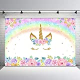 Mehofoto Rainbow Unicorn Backdrop Gold Unicorn Birthday Photo Backdrop 7x5ft Glitter Bubble Pastel Rainbow Floral Photography Background for Children's Birthday Decorations Party Studio Props
