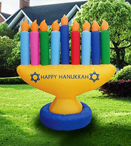 Zion Judaica Inflatable Lawn Hanukkah Menorah Indoor Outdoor Decoration with LED Night Glowing Lights - 7' Tall 2017 Version ()