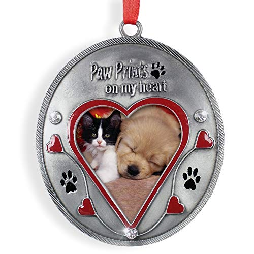 - BANBERRY DESIGNS Pet Memorial Christmas Ornament - Picture Opening Paw Prints On My Heart in Loving Memory - Loss of a Dog or Cat Tribute