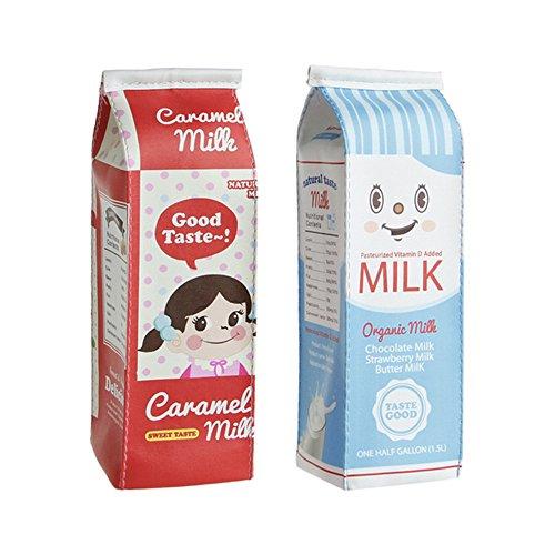(2Pcs Creative Simulation Of Milk Cartons Pencil Case PU Pen Bag Kawaii Stationery Pouch Office School Supplies)