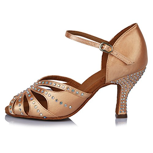 Model Latin Tango Women's Rhinestone Satin AF43504 5 Shoes Performance Ballroom Salsa Beige US 6 Shoes Roymall Dance with ORqStwt